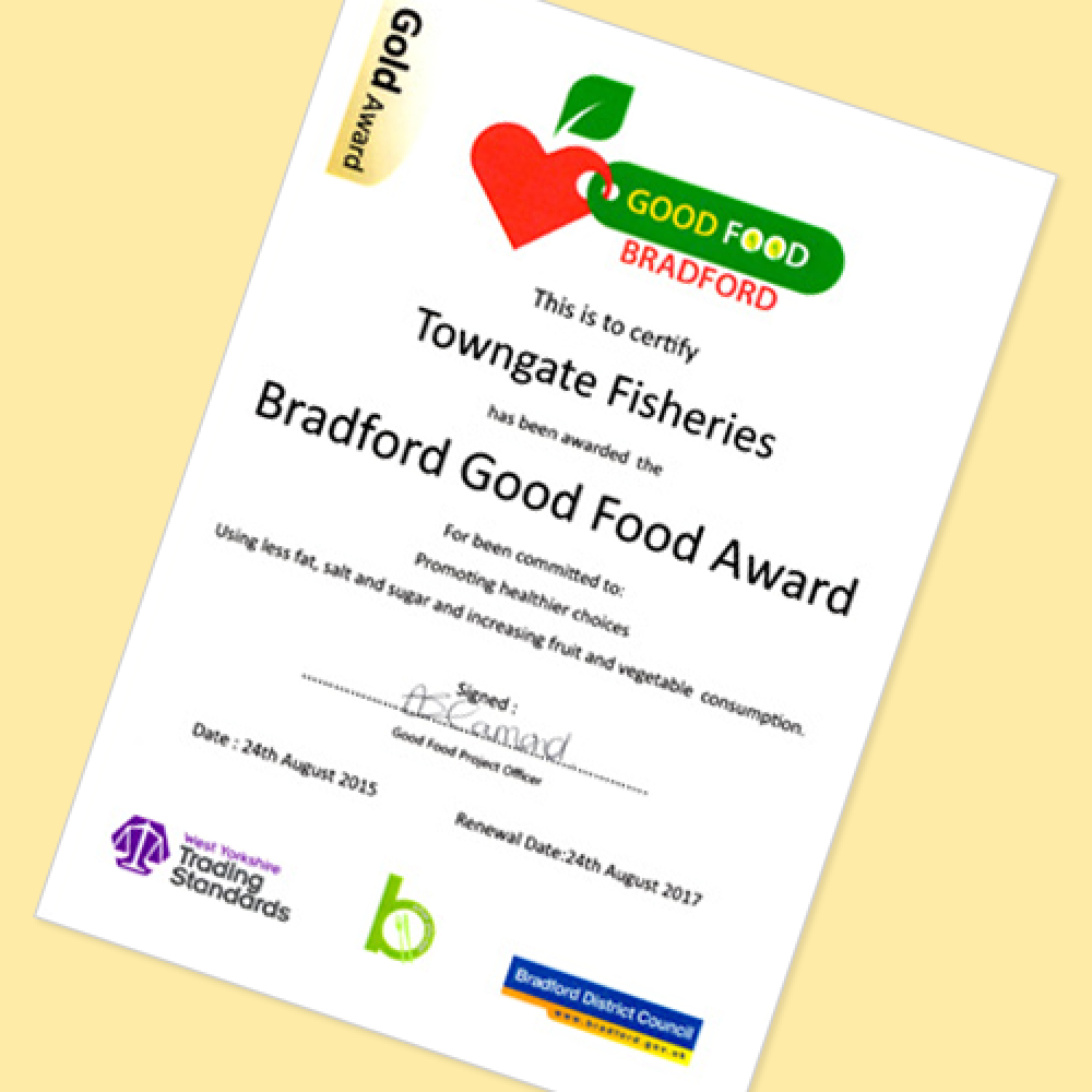 Bradford Good Food Gold Certificate awarded
