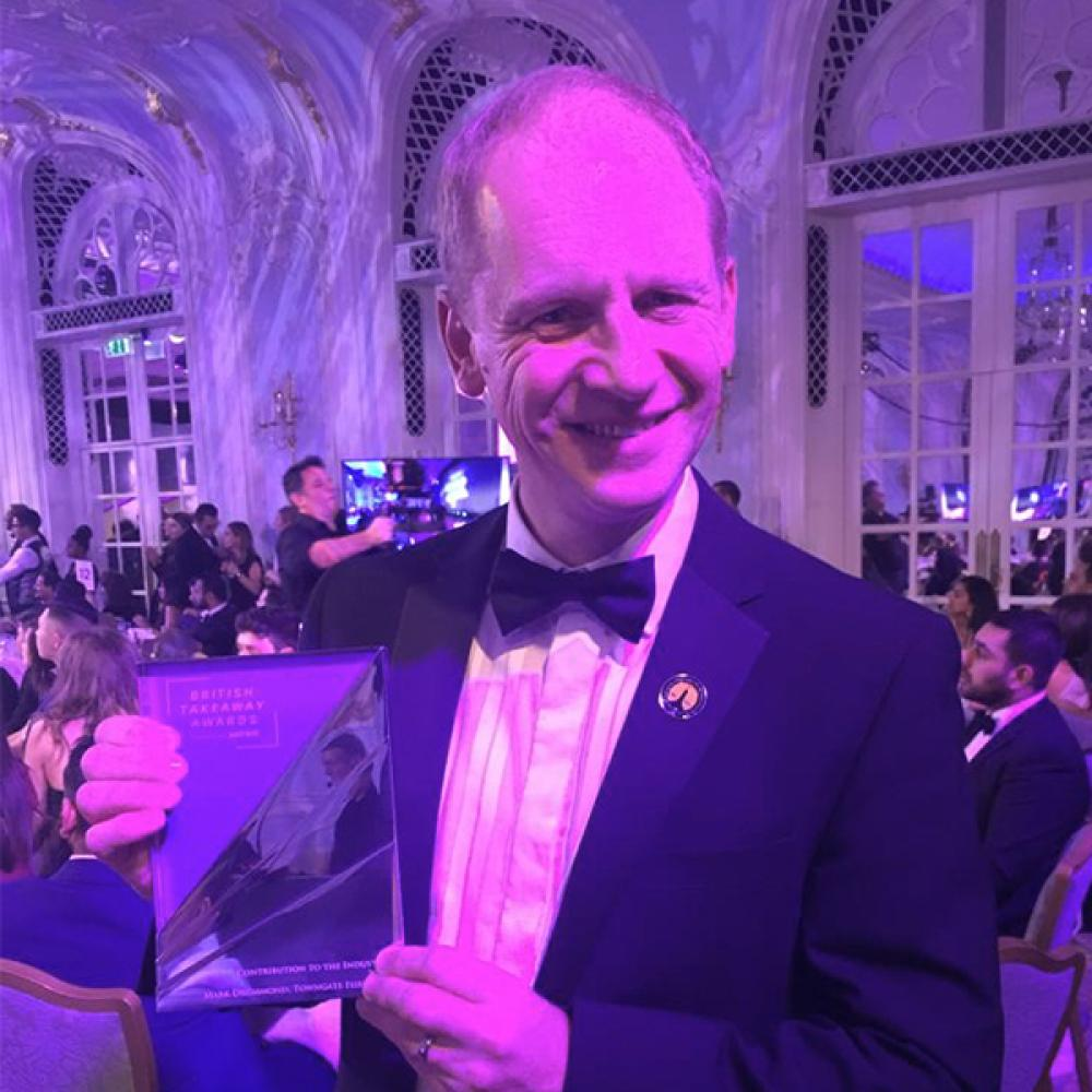 Mark Drummond wins Contribution to the Takeaway Industry Award at the British Takeaway Awards