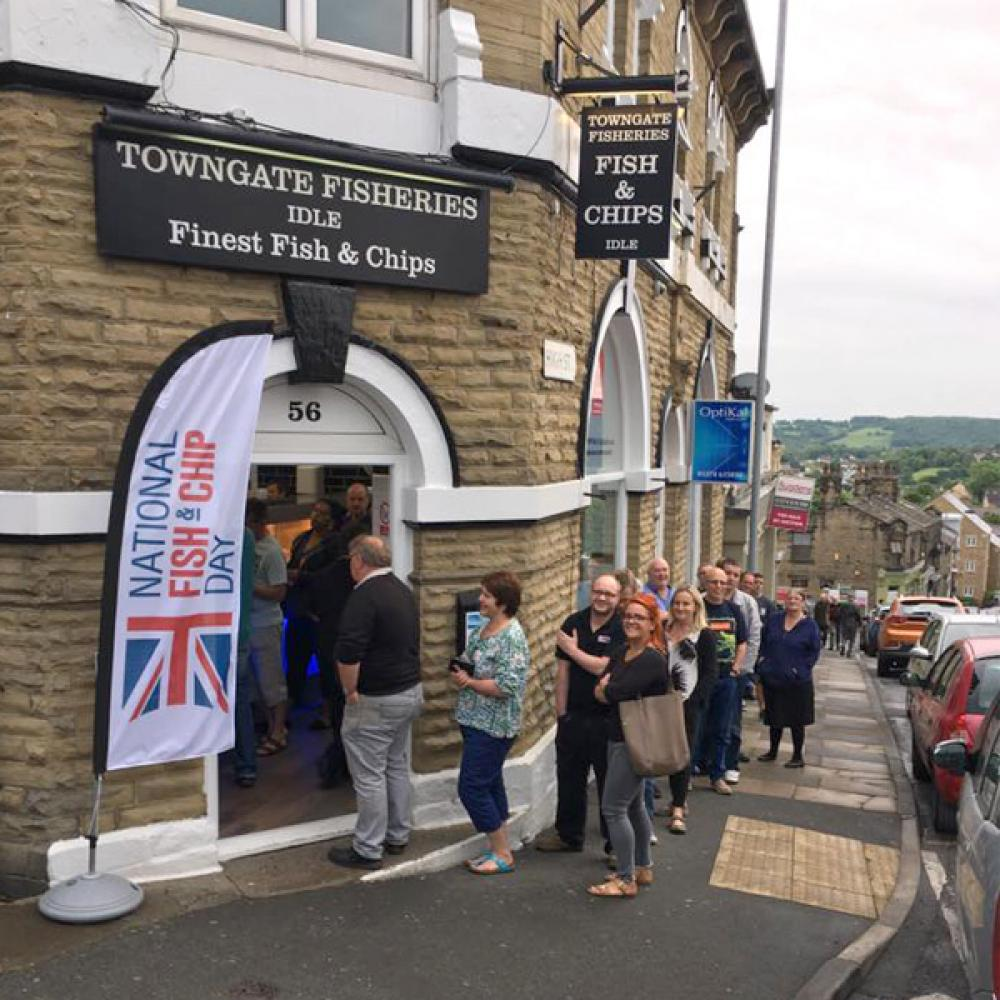 Queues at Towngate Fisheries on National Fish and Chip Day 2017