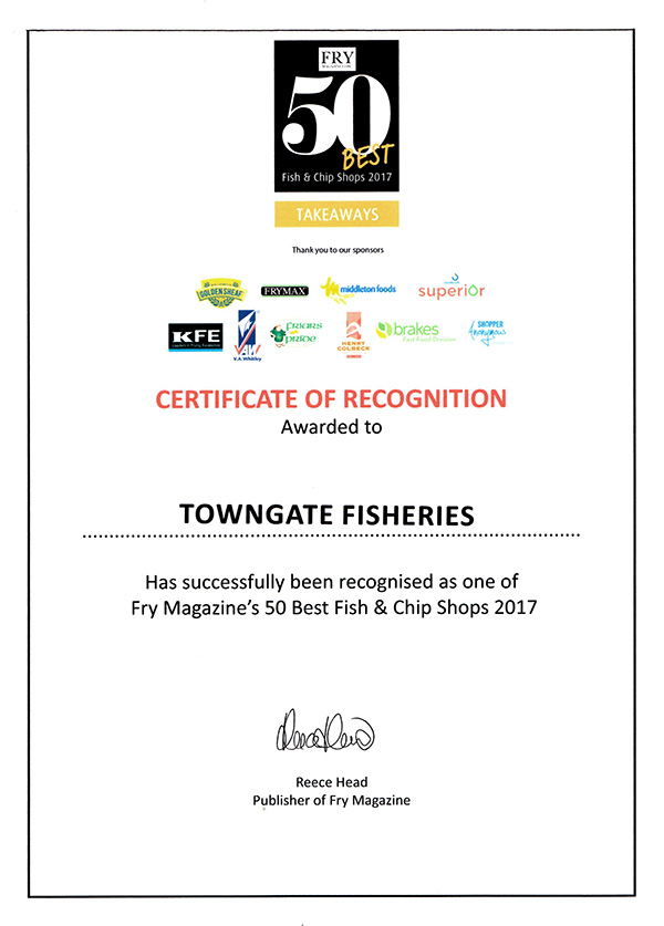 Towngate Fisheries awarded Fry Magazine Top 50