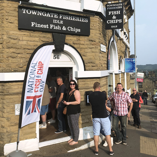 Queues at Towngate Fisheries on National Fish and Chip Day 2018